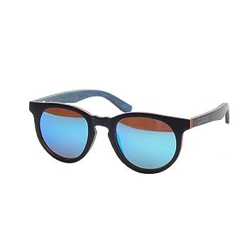 Iwood Marco de madera laminada Negro Gafas de sol de madera azul de la lente polarizada