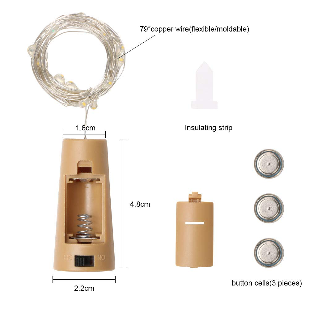 Vicloon Luz de Botella,2m 20 LEDs Lámparas de Botellas con Pilas Flexible de Alambre de Cobre,LED Corcho Micro Luces para Decoración de Boda,Casa,DIY Fiesta ...