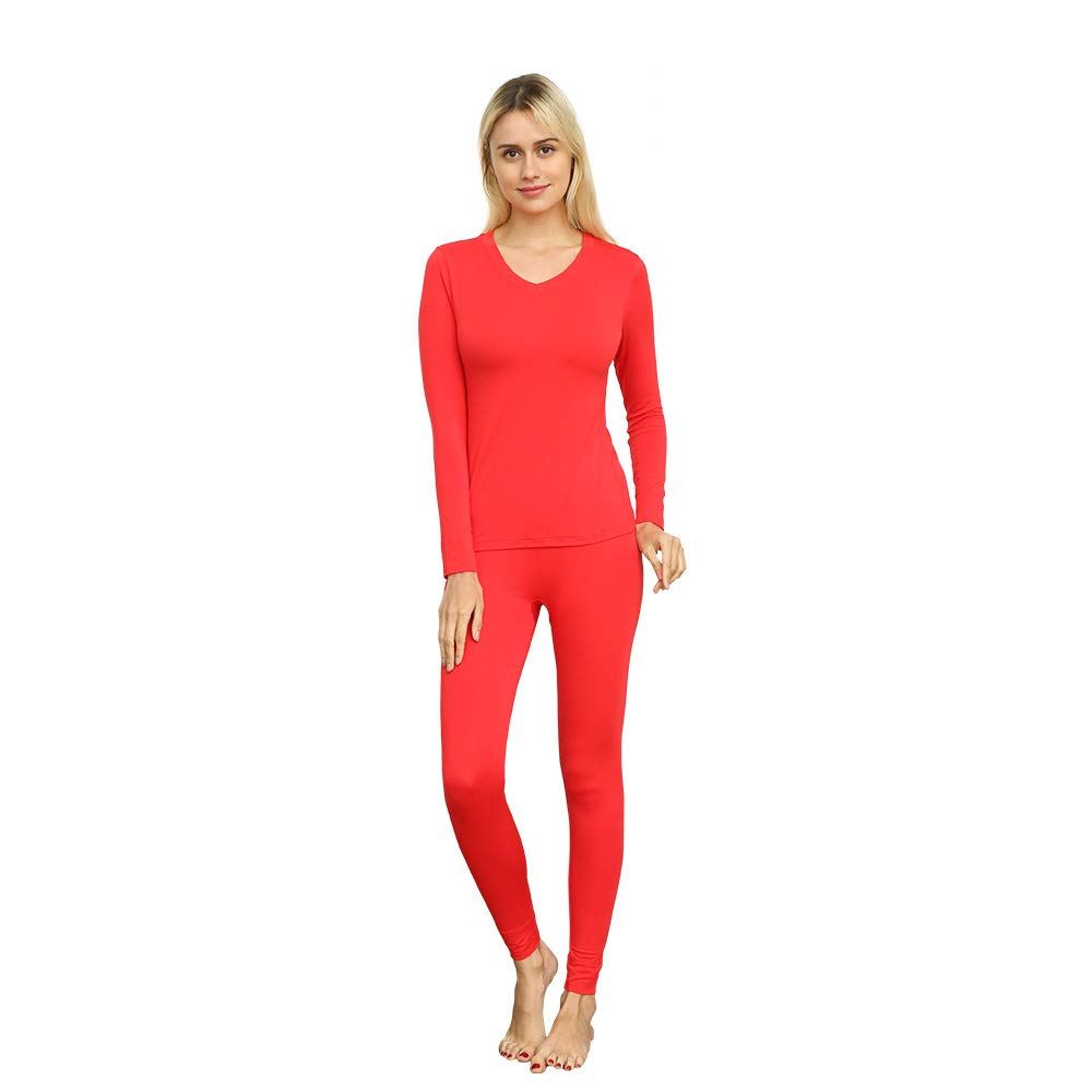 2c1f0bd652ddf VIPEX Women s Micromodal Thermal Underwear Low Collar Invisible Long Johns  Winter Base Layering Set product image