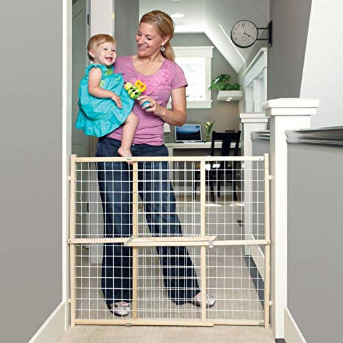 Toddleroo by North States 50″ Wide Extra Wide Wire Mesh Baby Gate: Installs in Extra Wide Opening in Second Without damaging Wall. Pressure Mount. Fits 29.5″-50″ Wide (32″ Tall, Sustainable Hardwood)