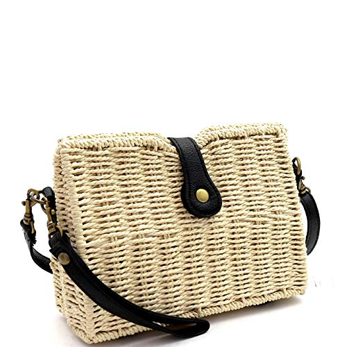 Woven Straw Flap Shoulder Bag Cross Body Bag