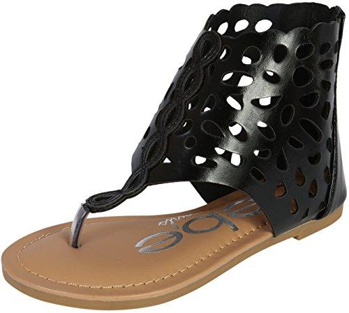 bebe Girls Gladiator Thong Sandal, Black, 10 M US (Detail Thong Sandals)