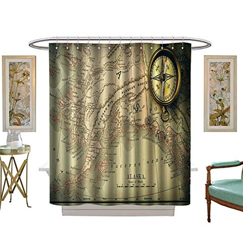 Shower Curtains Mildew Resistant Antique Brass Compass Over Old XIX Century map Satin Fabric Bathroom Washable Size:W54 x L72 inch