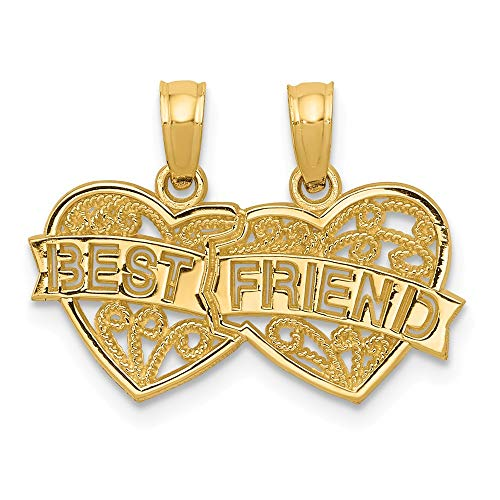 14K Yellow Gold Best Friend Breakable Double Hearts Pendant Solid 19 mm 15 mm Themed Pendants & Charms Jewelry ()
