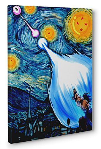 (OneCanvas DRAGON BALL Z STARRY NIGHT FRAMED CANVAS PRINT POSTER WALL ART (Ready to hang) (12x18in.))