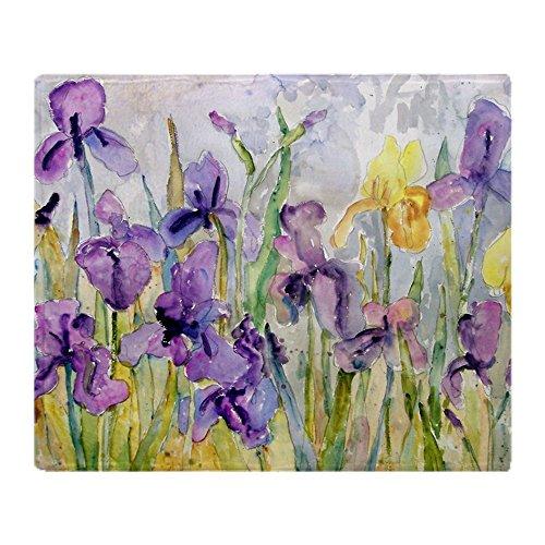Iris Throw (CafePress - Purple And Yellow Iris Romantic Ruff - Soft Fleece Throw Blanket, 50