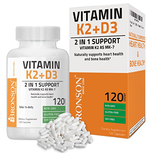 Bronson Vitamin K2 (MK7) with D3 Supplement - Vitamin D & K Complex Premium Non GMO & Gluten Free Formula, 120 Capsules (Vitamin D3 Mk7)