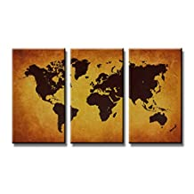 "Pictures on canvas length 63"" height 35"" Nr 1170 world map ready to hang, brand original Visario !"