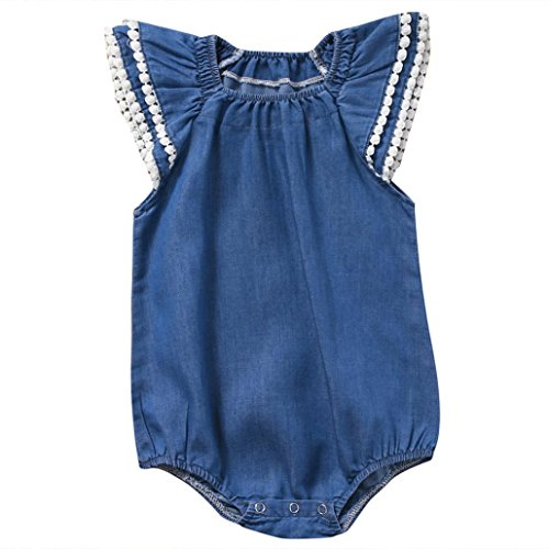 Vibola Newborn Baby Girl Boy Lace Solid denim Romper Jumpsuit