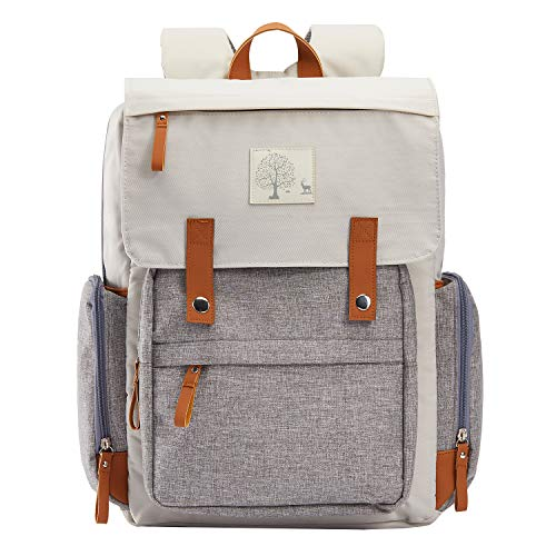 Diaper Bag Women Backpack Frank Mully Large Diaper Bag Backpack with Insulated Pockets, Stroller Straps and Changing Pad Diaper Bag for Mom, Girl, Boy (Creamy-White Splice Gray)