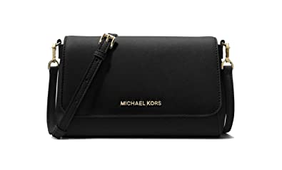 021f383c11f7 MICHAEL Michael Kors Medium Saffiano Leather Convertible Crossbody Women s  Handbags (Black)