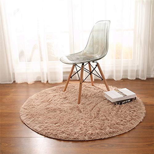 GIY Shag Solid Round Area Rugs Soft Plush Living Room Carpet Children Bedroom Rug Bathroom Mats Home Decorate Non-Slip Modern Circular Runners Sky Blue 2' X 2' by GIY