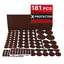 X-PROTECTOR Premium Ultra Large Pack Felt Furniture Pads 181 Piece! Felt Pads Furniture Feet All Sizes - Your Best Wood Floor Protectors. Protect Your Hardwood Flooring with 100%Satisfaction!