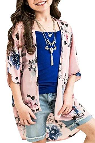 KunLunMen Girls Cardigans Kimono Floral Tops Summer Boho Cute Loose Cover Up Blouses