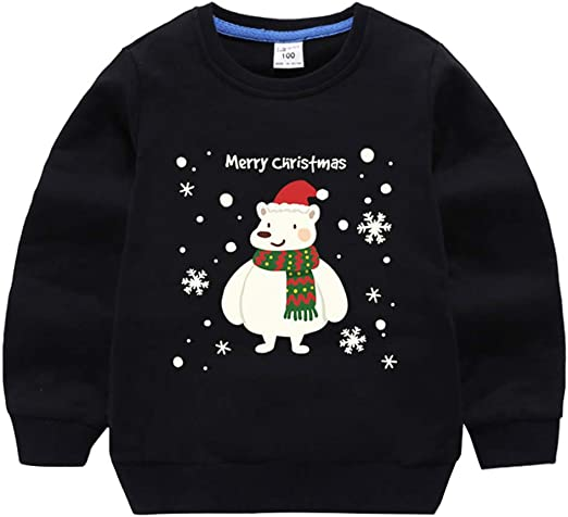 Child Boys Santa Claus Cartoon Tops Outwear Pullover Sweatshirt Coat Clothes Hot