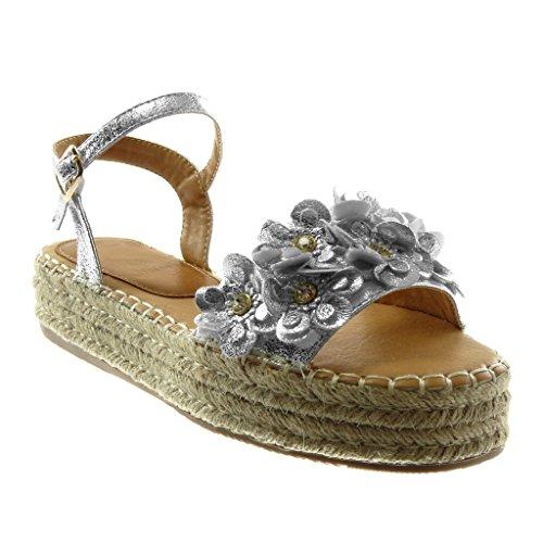Angkorly Damen Schuhe Sandalen Mule - Knöchelriemen - Plateauschuhe - Blumen - Strass - Glänzende Keilabsatz High Heel 4 cm Silber