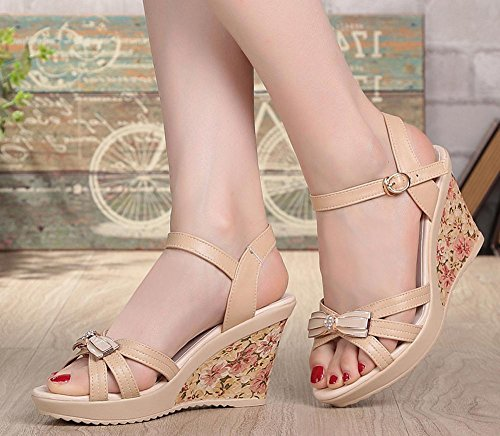 FL@YC Femmes Flat Down Slope With Sandals Summer Leather Thick Casual High Heel Waterproof Platform , white , 35