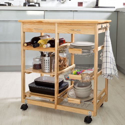 Haotian Wooden Kitchen Storage Cart with Shelves & Drawers,Hostess Trolley,Kitchen Storage Rack FKW04-N, natural,67cm(26.4in)x 37cm(14.5in)x 75cm(29.5in) For Sale