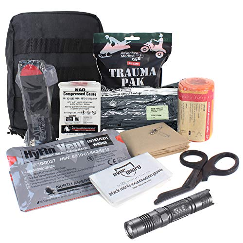 MediTac Premium IFAK Kit - Feat. Trauma Pak, CAT Tourniquet, HyFin Vent Chest Seal, Israeli Bandage with NITCORE-P12 Tactical LED Flashlight