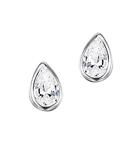 79d881e7c 925 Solid Sterling Silver Teardrop Stud Earrings - 5mm Cubic Zirconia Small  Hypoallergenic Jewelry