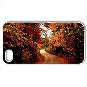 our autumn road - Case Cover for iPhone 4 and 4s (Watercolor style, White)