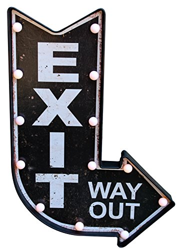 Vintage Room Home Man Cave Bar Restaurant Retro Decorative Lighted Exit/Entrance Pub Rustic Bar Sign Wall Mounted (Exit, Way Out)