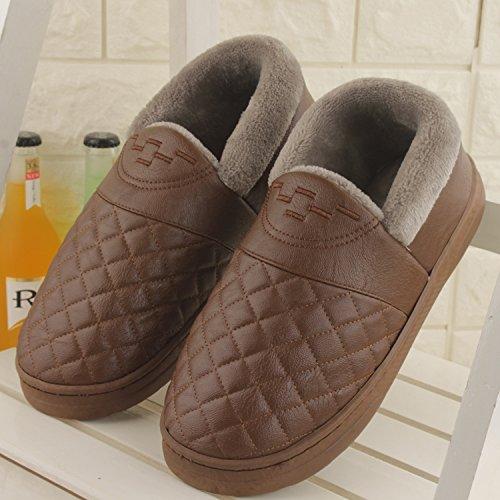 Fankou Autunno e Inverno pantofole di cotone femmina pacchetto impermeabile con un paio di spessore caldo e antiscivolo Tomaia in pelle colore solido home pantofole ,39-40, marrone