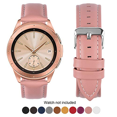 Fullmosa Compatible Samsung Galaxy 46mm/Gear S3 Frontier/Classic Watch Bands, Quick Release Leather Watch Band for Gear S3 Bands/Moto 360 2nd Gen 46mm 22mm Watch Band, Pink + Silver Buckle