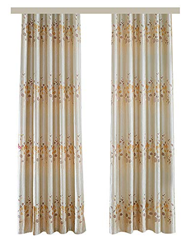 BW0057 Elegance Nordic Double Side Floral Jacquard Window Curtain Panel Rod Pocket Home Treatment Draperies for Living Room Bedroom Living Room and Kids Room(1 Panel, W 50 x L 104 inch, Gold)