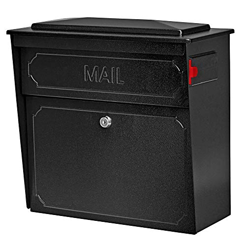 Mail Boss 7172 Townhouse Locking Security Wall Mount Mailbox, Black (Renewed)