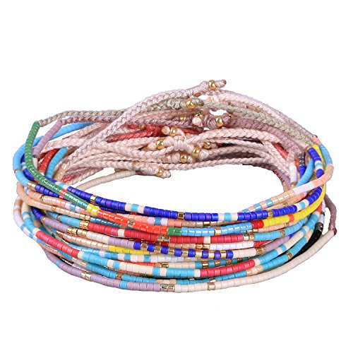 KELITCH 10 PCS Shell Beaded Colour Wrap Bracelet Adjustable Handmade Friendship Bracelets Gift for Friends (Color 3) from KELITCH