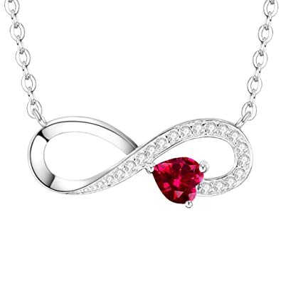 July Birthstone Red Ruby Necklace Jewelry Birthday Gifts For Women Sterling Silver I Love You