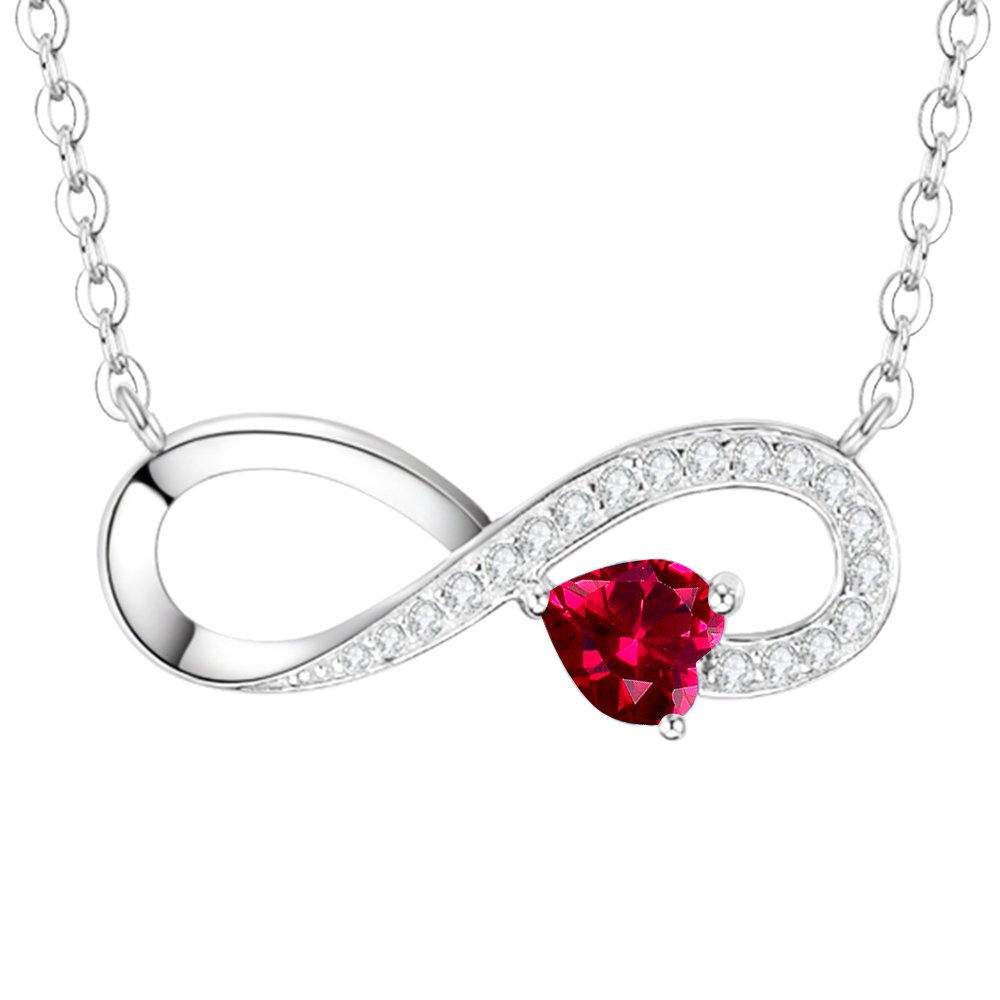 Love Infinity Heart Pendant Necklace Gifts for Her for Women Created Ruby Jewelry Birthday Anniversary Gifts for Wife for Girlfriend Daughter Lady Sterling Silver 18''+2'' Chain