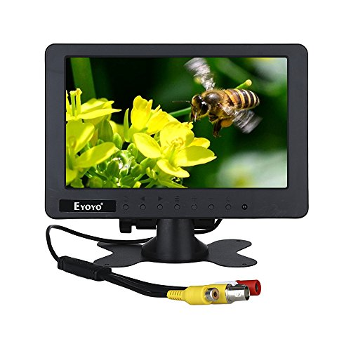 7 inch CCTV Monitor 1024 x 600 Resolution Display Portable 16:9 TFT LCD Mini FHD Color Video Screen Support BNC AV DC AC Input for Car LCD TV