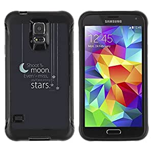 "Pulsar iFace Series Tpu silicona Carcasa Funda Case para Samsung Galaxy S5 V , Moon Stars texto gris azul sueño de la noche"""
