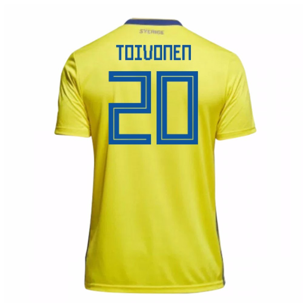 2018-19 Sweden Home Football Soccer T-Shirt Trikot (Ola Toivonen 20) - Kids