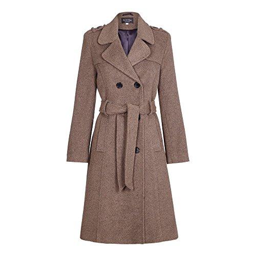 - De la Crème - Womens Wool Blend Belted Long Tweed Trench Coat, Brown, Size 6