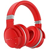 Mighty Rock Active Noise Cancelling Headphones Over Ear Bluetooth Headphones Hi-Fi Deep Bass Wireless Headphones With Microphone Built-in and 30H Playtime for Travel (Red)