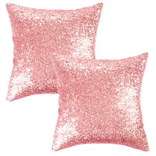 Kevin Textile Sequins Decorative Cushion Cover Glitzy Sequin & Comfy Satin Solid Throw Pillow Cover 18 Inch Square Pillow Case, Hidden Zipper Design, (2 Cover Packs -