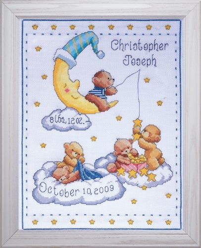 "Bears In Clouds Birth Record Counted Cross Stitch Kit, 11"" x"