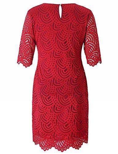 Fiesta Cóctel Rojo en Elástico Oficina Rodilla a con Grandes Vestido Forrado la Vestido Tubo Mujeres Tallas Puño Encaje y Festoneado Dobladillo Chicwe Casual 1BqURR