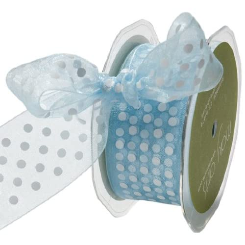 May Arts 3/8-Inch Wide Ribbon, Light Blue Sheer Polka Dot