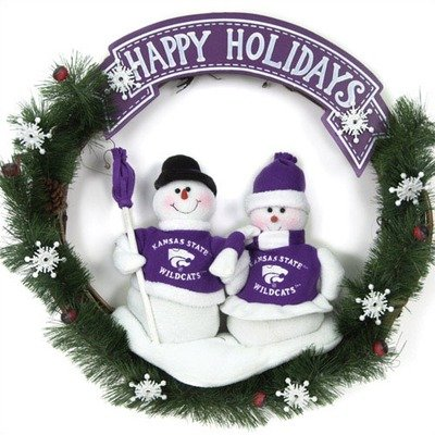 (NCAA Snowman Christmas Wreath NCAA Team: Kansas State)