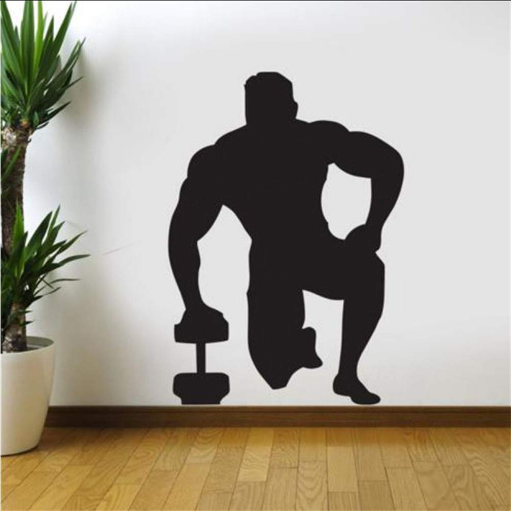 Cmhai Gym Etiqueta De La Pared Con Mancuernas Fitness Decal Posters Vinilo Tatuajes De Pared Pegatina Quadro Parede Decor Mural Gym Sticker 41 * 58 Cm: ...