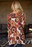 MIROL Womens Spring Floral Print 3/4 Sleeve Irregular Hem Asymmetrical Tunic Loose Long Blouse Tops
