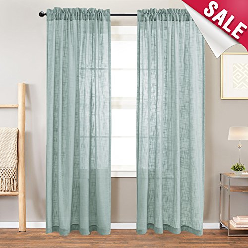 Linen Textured Sheer Curtain Panels for Living Room 95 inches Long Light Filtering Semi Sheer Curtains for Bedroom Rod Pocket Window Treatment Set, 2 Panels, Blue Haze ()