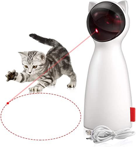 P01 Cat Toys Interactive Cat Laser Toy Automatic Rotating Laser Pointer for Cats Dogs Adjustable 2 Speed Modes 5 Rotating Modes USB Charging Auto ON//Off and Silent