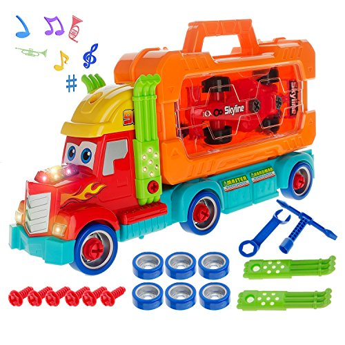 Take A Part Toys,Carrier Truck Gift for Boys Age 3,4,5,6 Engineering Construction STEM Learning Kit with Removable Tool Box and F1 Race Car 36 Pieces