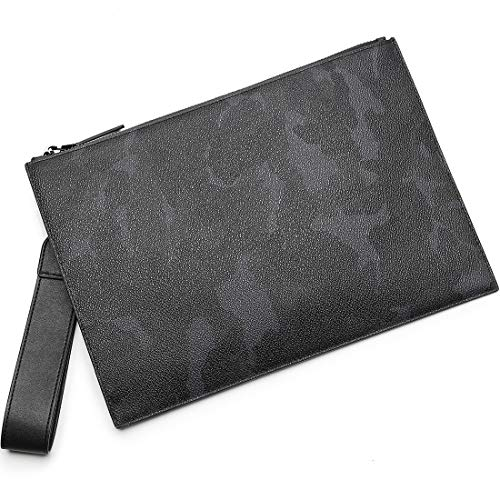 BABAMA Men & Women Leather Wristlet Wallet Unisex Camo Clutch Bag Zip Large Wristlets Handbag Designer Phone Travel Purse (Camo Wallet Clutch)