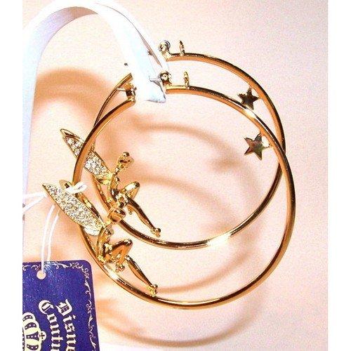 Au plaisir des yeux - Fée Clochette Boucles d'oreilles Créoles Disney Couture Plaqué Or et Cristal